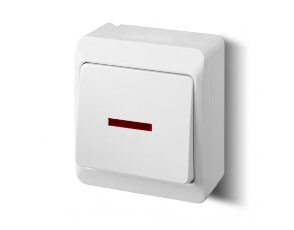 HERMES włącznik jednobiegunowy z podświetleniem biały