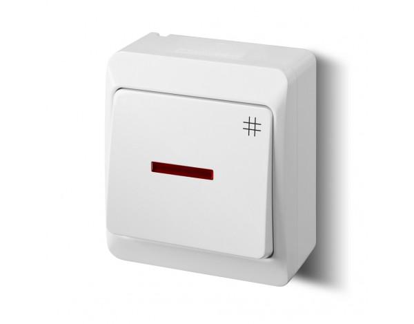 HERMES włącznik krzyżowy z podświetleniem biały