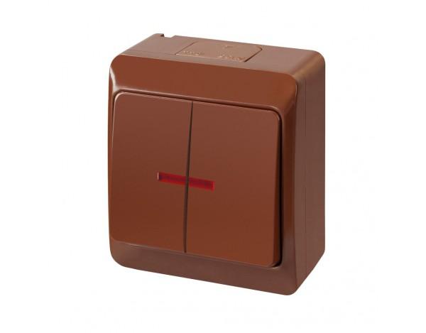 HERMES włącznik świecznikowy podświetlany brązowy hermetyczny