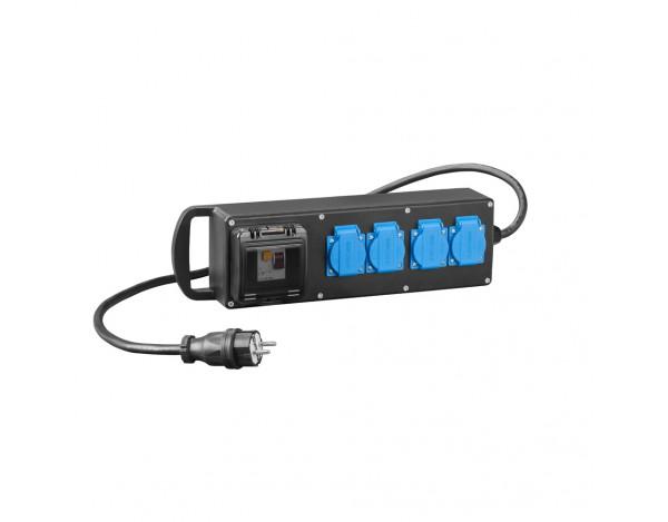 RS-P gumowany 4x2P+Z z zabezpieczeniem C2/25/0,03A z przewodem i wtyką 16A 250V