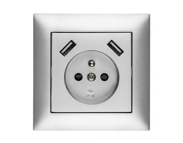 SENTIA Gniazdo podtynkowe 2P+Z USB z ramką
